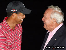 Tiger Woods with Arnold Palmer
