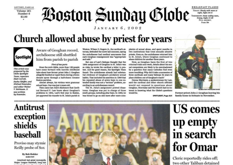 Spotlight Boston Globe Catholic Church Headline